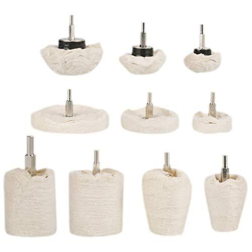 Tomantery Alta eficiencia 10 unids/Set Rueda de Pulido Rueda de Pulido Fregona de Pulido Kit de Rueda de Pulido para Pulido de joyería de Metal Vástago de 6 mm