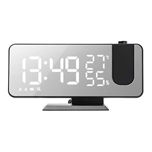 Leeofty Wecker mit Spiegeloberfläche 4-in-1 Projektoruhr Innentemperatur Feuchtigkeitsmonitor FM-Radio Telefon Ladegerät LED-Anzeige Wählbar für Schlafzimmer Kinderzimmer(Schwarz&Weiß)