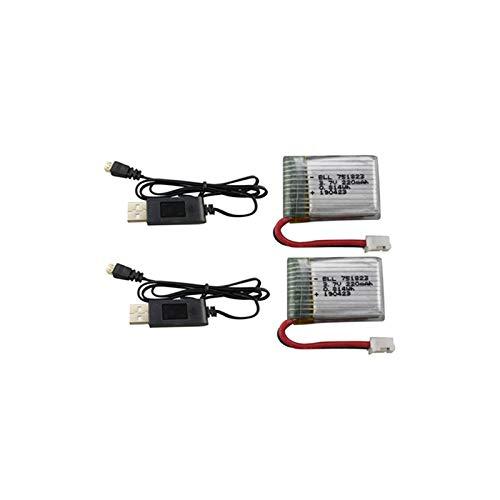 ETbotu Batteria al litio per RC Drone, Batteria al litio 2PCS 3.7V 220mAh con USB for Eachine E010 GoolRC T36 NINHUI NH010 F36 Holy Stone HS210 Accessori