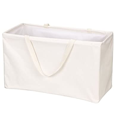 Household Essentials 2213 Krush Canvas Utility Tote | Reusable Grocery Shopping Laundry Carry Bag | Beige, Large, White