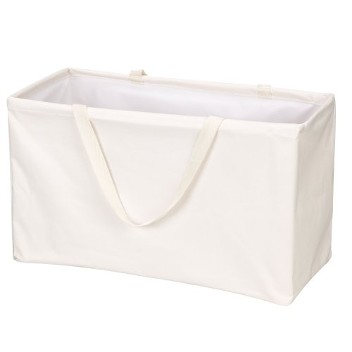 Household Essentials 2213 Krush Canvas Utility Tote   Reusable Grocery Shopping Laundry Carry Bag   Beige, Large, White