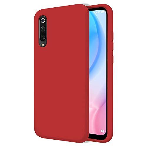 TBOC Funda para Xiaomi Mi 9 SE [5.97 Pulgadas]- Carcasa Rígida [Roja] Silicona Líquida Premium [Tacto Suave] Forro Interior Microfibra [Protege la Cámara] Antideslizante Resistente Suciedad