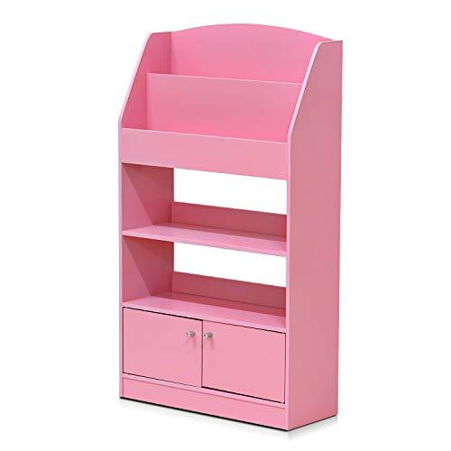 FURINNO Kidkanac Magazine/Bookshelf with Toy Storage Cabinet, Pink