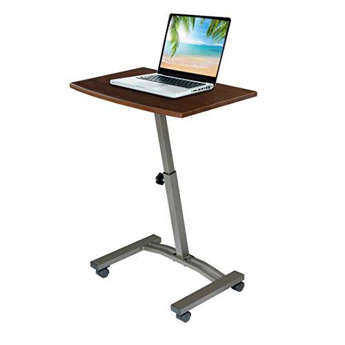 Seville Classics Height Adjustable Sitting Mobile Laptop Desk Cart Ergonomic Table, Flat (23.6'), Walnut