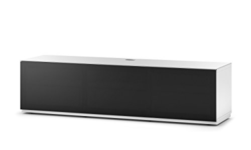 Sonorous STA 160T-WHT-BLK-BS stehende TV-Lowboard mit versteckten Rollen, weißer Korpus, obere Fläche, gehärtetem Weißglas und Klapptür mit schwarzem Akustikstoff