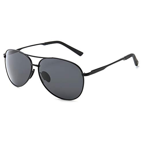 SUNGAIT Premium Military Style Classic Aviator Sunglasses with Spring Hinges (Black Frame Grey Lens)0971HEKH