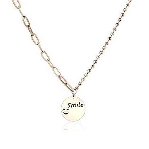 ZNZNN Collar Colgante de Cara Sonriente Real Placa de Oro Collar de aleación Ronda Tag Smile Necklace, Gran Regalo para Mujeres Girls-Coffee Gold Regalo de Collar de Moda