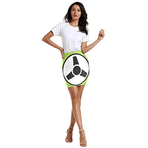 FANTAZIO Damenrock mit Lenkrad-Icon über dem Knie, elastische Taille, Stretch, figurbetonter Rock -  mehrfarbig -  Groß