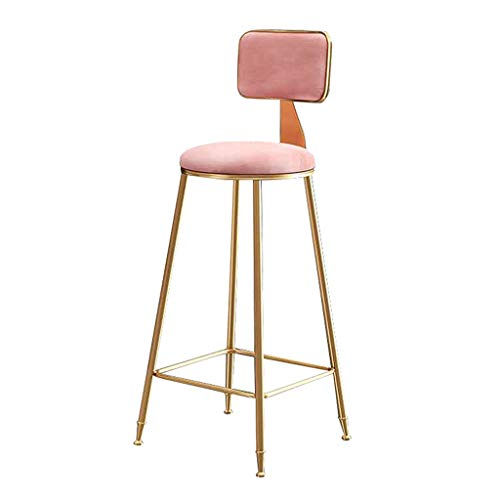 Velvet Bar Stools Metal Bar Stool with Back Rest and Footrest Soft Padded Chairs for Kitchen Island Counter Bedrooms, 6 Colour Selection