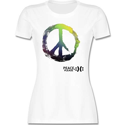 Statement - Frieden, Bitte - Peace, Please - Peacesymbol bunt - XXL - Weiß - Peace Damen Shirt weiß - L191 - Tailliertes Tshirt für Damen und Frauen T-Shirt
