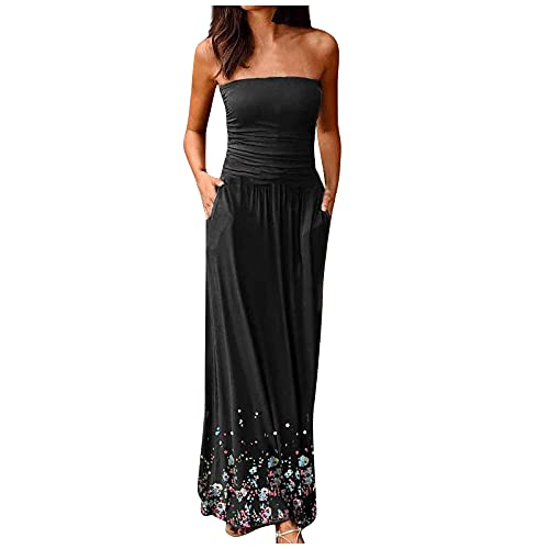 FQZWONG Women's Bandeau Dress Off Shoulder Long Dress Fashion Summer Print Maxi Dress for Holiday Beach(C-Black,Large)