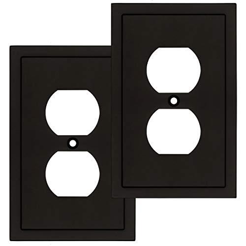 Moderno borde decorativo placa de pared para interruptor de placa de pared, duradera aleación de zinc sólido (dúplex único, 2 unidades, negro mate)