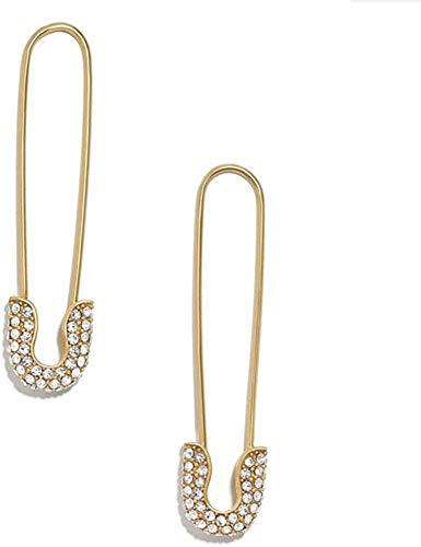 ZHENAO Pendientes de Gota Joyas de Aleación de Oro de Cristal para Mujer Declaración de Mujeres Rhinestone Paperclip Safety Pin Stud Pendientes Pendiente de Boda 2Pcs Style 1 Retro