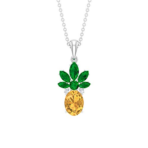 Rosec Jewels 14 quilates oro blanco redonda marquesa ovalada Green Yellow Emerald Citrine
