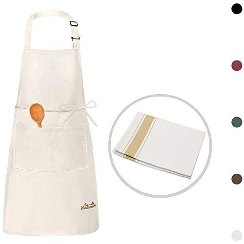 Viedouce Delantales Impermeables Ajustables del Cocinero con Bolsillo Cocina Delantale para Mujeres Hombres,Delantal Chefs Cocina(1x Beige Delantal + 1 x Toalla de té)