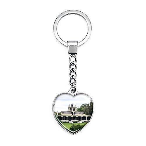 Iberia Rip Van Winkle Gardens Louisiana - Llavero creativo de doble cara con forma de corazón de cristal, recuerdo de viaje