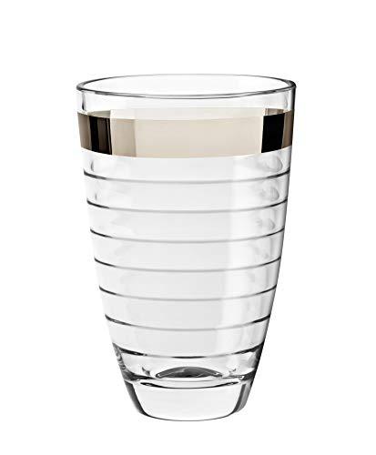 Barski European Glass Designed Vase with Platinum Band, 9.5