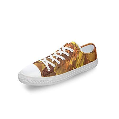 RNGIAN Zapatos de Lona con diseño Floral Dorados para Mujer y Hombre, Corte bajo, con Cordones, Informales, para Entrenar en el Gimnasio, para Adolescentes, Color Blanco, Talla 35 EU