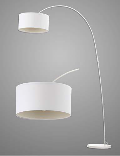 Modernluci booglamp staande lamp modern voor de woonkamer wit zwart grijs slaapkamer lampen tijddicht arc vloerlamp Scandinavische stijl met stoffen kap ø40cm hoogte:228cm MEHRWEG
