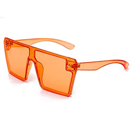 WOJING Gafas de Sol cuadradas de Gran tamaño Mujeres de Lujo de Moda Plana Plana Plana Colorido Lente Claro vidrios de Sol Vintage Hombres Gafas Gafas