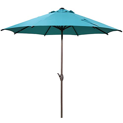 Abba Patio 9 ft Patio Umbrella Outdoor Market Table Umbrella with Push Button Tilt and Crank for Garden, Lawn, Deck, Backyard & Pool, 8 Sturdy Steel Ribs, Turquoise