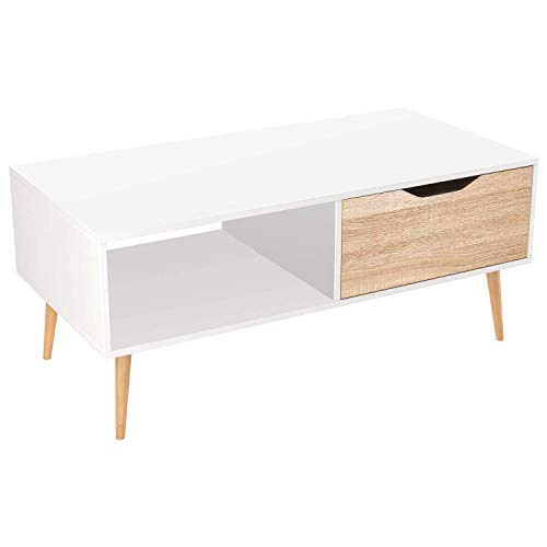 Homfa Coffee Table Living Room Table Modern Side Table TV Stand Rectangle Centre Table with Drawer 100x49.5x43cm (White+Oak)