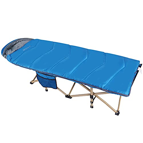 REDCAMP Extra Long Kids Cot with Thick Sleeping Bag for Sleeping 5-10, Sturdy Portable Folding Toddler Cot Bed for Boys Girls Camping Travel, Blue 53x29