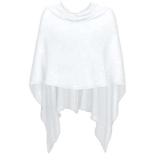 Mississhop 221 Damen Poncho Cape Überwurf Strickjacke feiner weicher Strick Pullover Herbst Winter One Size Creme-weiß