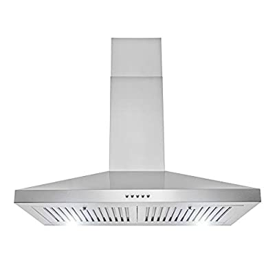 AKDY Wall Mount Range Hood Stainless-Steel Hood Fan for Kitchen – 3 Speed Professional Quiet Motor – Premium Touch Control Panel – Modern Design – LED light & Carbon Filters (30 in)