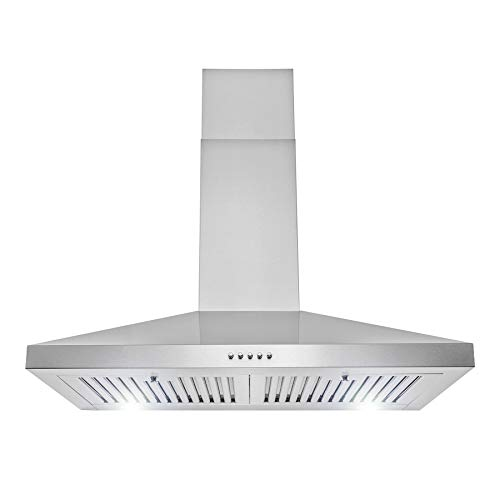 "AKDY 30"" Wall Mount Range Hood in Stainless Steel with LEDs, Push Control and Carbon Filters"
