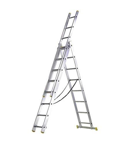 WOLFPACK LINEA PROFESIONAL 23020009 Escalera Aluminio 3 Tramos 7 Peldaños.Plegable, Telescópica, Antideslizante, Resistente