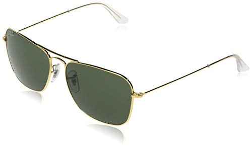 Ray-Ban RB3136 Caravan Square Sunglasses, Arista Gold/Green, 55 mm