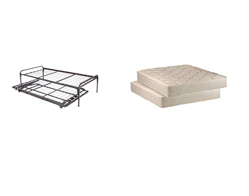 Twin Size Metal Day Bed (Daybed) Frame & Pop up Trundle with Great Firm Mattresses Included Package Deal!