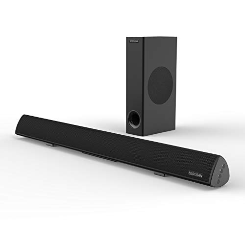 Sound Bar, Bestisan Sound Bar with Subwoofer, 120W Channel 2.1 Soundbar, Wired & Wireless Bluetooth Home Theater Speaker for TV (28 Inch, Optical/Aux/Coax/USB, Bass Adjustable)