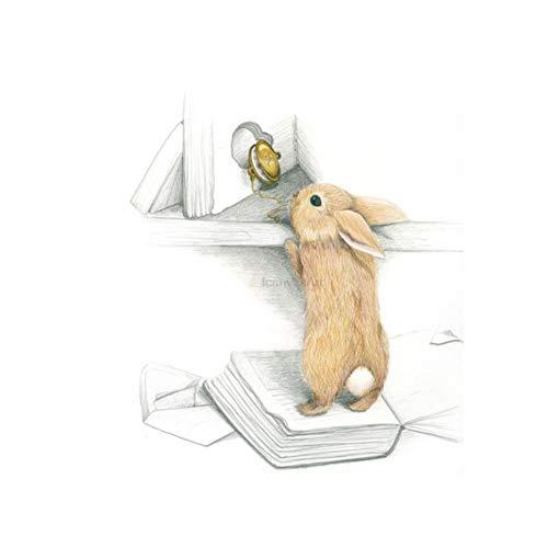 Kawaii Tiere Boot Hase Kunstdrucke Poster Kinderzimmer Wandbild Pilz Schlitten Kaninchen Leinwand Malerei Kinderzimmer Dekor 40x60cm No Frame
