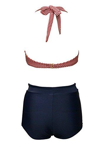 BSLINGERIE® Sexy Damen Retro Bademode Übergröße Halfter Bikini Set (XL, Rot gestreiften Keyhole) - 3