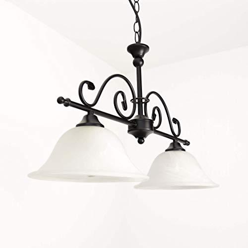 Schwarze Deckenleuchte mit Alabasterglas Deckenlampe Landhausstil