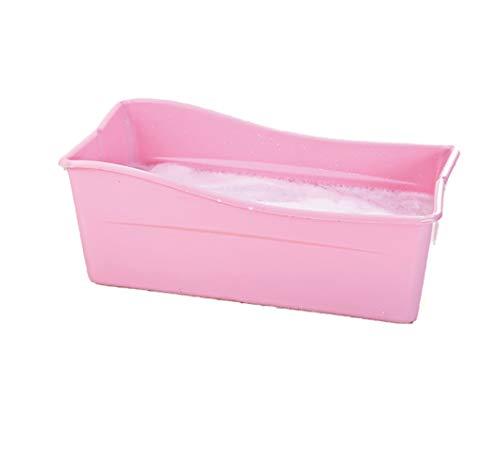 LYzpf Bathtub Bagno Bambini Grande Plastica Pieghevole Sicuro Vaschetta Portatile Camera Risparmiare Spazio Bagnetto Vasca per Kids di 0-15 Anni,Pink
