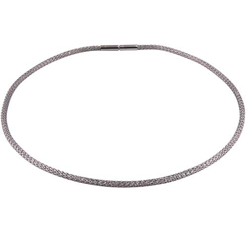 Schlauchkette Edelstahl - Made in Germany - 3 mm Stärke - Strickkette - gehäkelte Kette - Damen Halskette - Mesh Kette - Edelstahl Collier