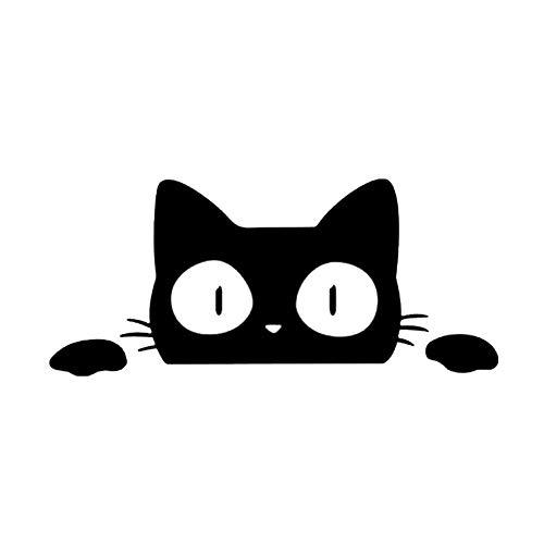 Zyunran Auto-Aufkleber Merchandiseprodukte Aufkleber Auto Auto Aufkleber geschnitzt Tier Aufkleber niedlichen Cartoon Kätzchen Auto Kratzer 13 * 5,7 cm schwarz