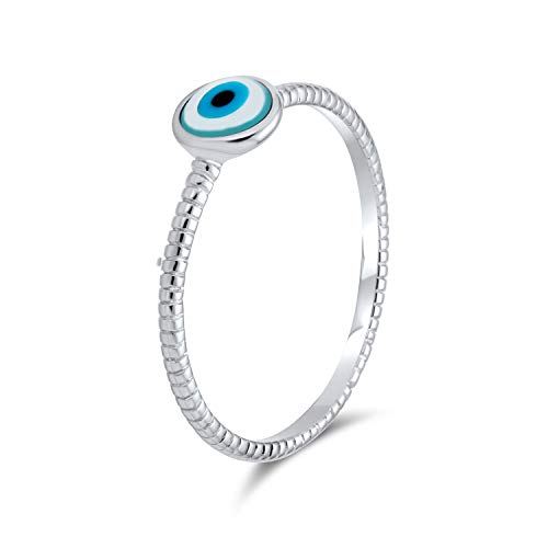 Bling Jewelry Minimalista Semplice 925 Sterling Silver Midi Knuckle 1MM Band Stackable Evil Eye Ring for Teen for Girlfriend