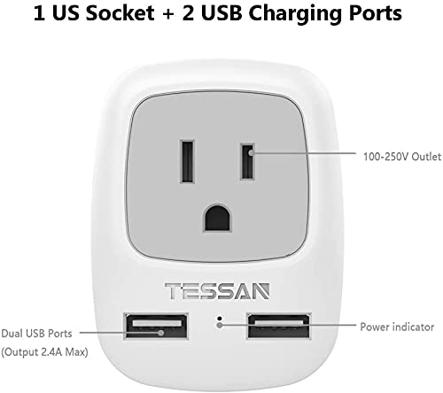 European Travel Plug Adapter, TESSAN International Power Plug with 2 USB, Type C Outlet Adaptor Charger for US to Most of Europe EU Spain Italy France Germany