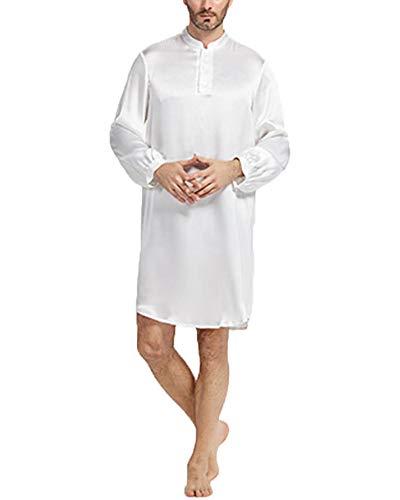 Satin badjas heren pyjama heren eendelig pyjama nachthemd lang T-shirt nachtkleding