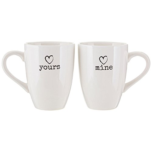 Premier Housewares Charm Mugs - White, Set of 2