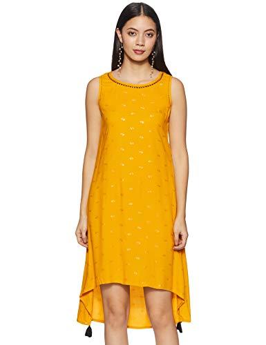 [Apply coupon] Indigo Women's Rayon a-line midi Dress (AW20/IND-1461_Mustard_M)