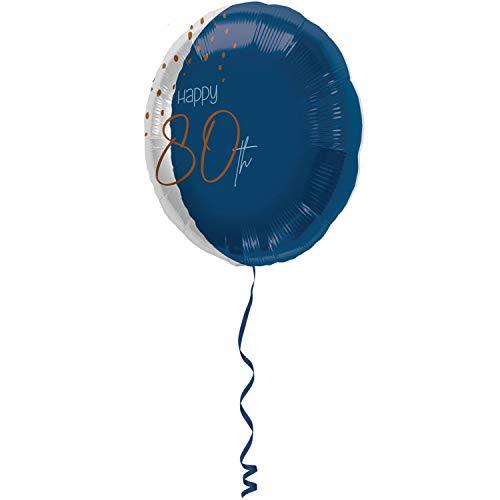 Globo de aluminio redondo Elegant True Blue 80 años 45 cm 66780 transparente en la parte delantera hinchable con aire y helio para fiestas de cumpleaños
