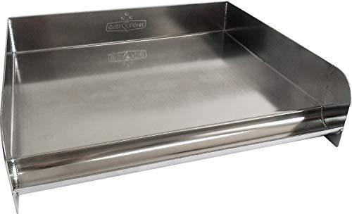 Grillfürst Universal Edelstahl Plancha - BBQ Grillplatte - Teppanyaki Pfanne - 32 x 28 cm - mit Auffangrinne