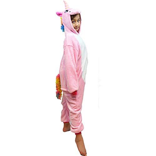 Girls Kids Hooded 3D Unicorn Onesie Animal Dinosaur Crocodile Reindeer Onesie Pyjamas Nightwear Sleepsuit Dress Up Fleece Toddler to Teenage Small Adult, (Pink, 5-6 Years)