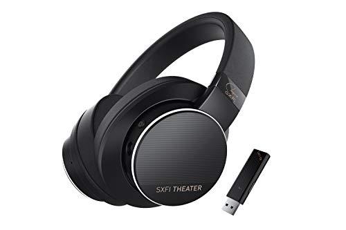Creative SXFI Theater Draadloze USB-koptelefoon met 2,4 GHz en lage latentie, Super X-Fi audio-holografie, 50 mm drivers, tot 30 uur batterijduur, afneembare microfoon, voor films