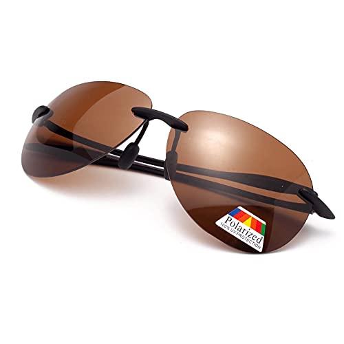 Amorays Gafas de sol para hombre y mujer, polarizadas, deportivas, gafas deportivas, montura TR, ultraligera, UV400, antirreflejos, marrón,